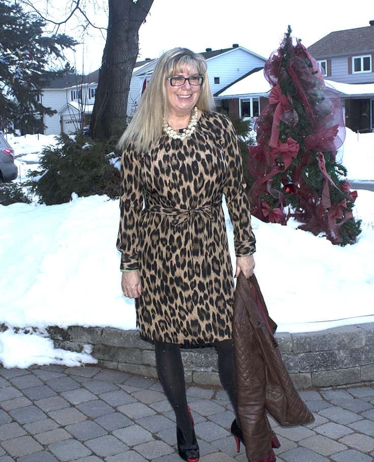 Joe Fresh Leopard Dress with pearls and Ruby Blues Shoes