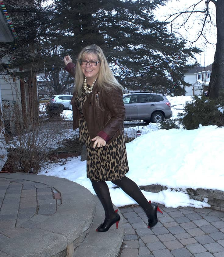 Joe Fresh Leopard Dress with a Moto and Ruby Blues Shoes