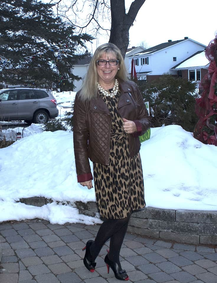 Joe Fresh Leopard Dress with a Brown Moto jacket from Charlotte Russe and Ruby Blues Shoes