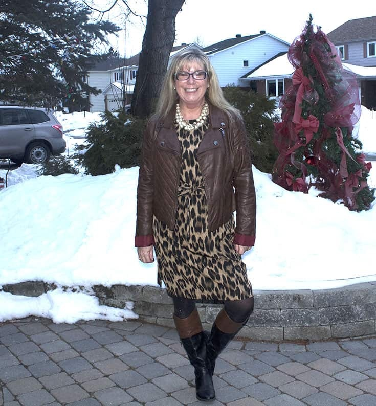 Joe Fresh Leopard Dress with a Brown Moto jacket from Charlotte Russe andl eather boots