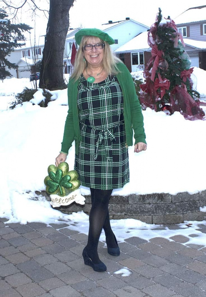 Banana Republic Green and Navy Plaid Dress with a MK Green zippered cardigan and navy suede wedges