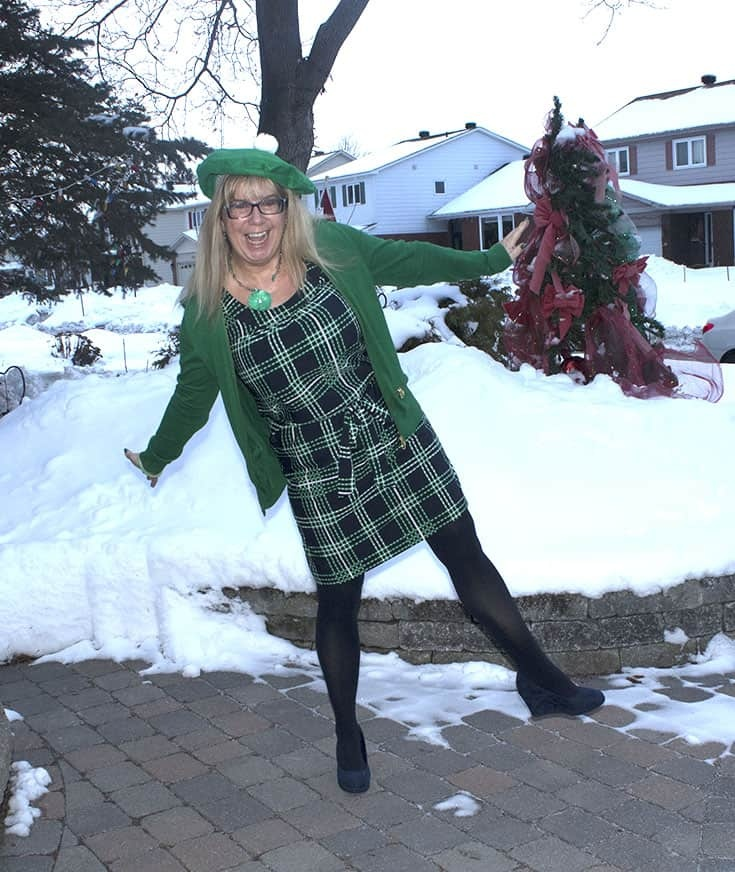 Banana Republic Green and Navy Plaid Dress with a MK Green zippered cardigan and a green beret