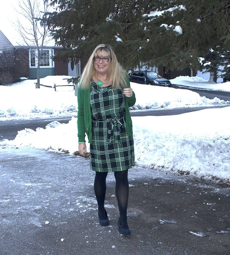 Banana Republic Green and Navy Plaid Dress with a MK Green cardigan and navy wedges
