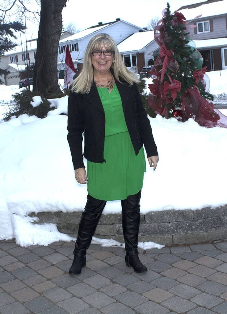 Old Navy Kelly Green Dress with leather leggings and a wool moto jacket