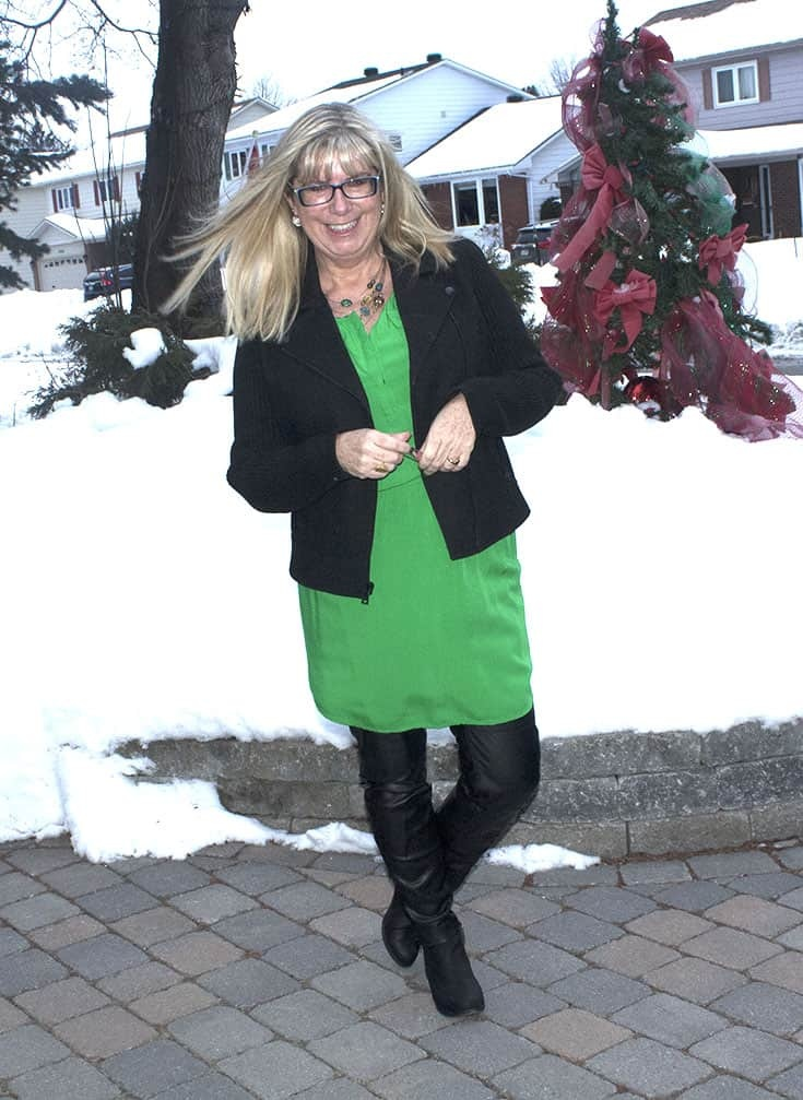 Old Navy Kelly Green Dress with a wool moto jacket from Banana Republic