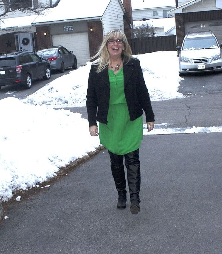 strolling in Old Navy Kelly Green Dress with leather leggings and a wool moto jacket from Banana Republic