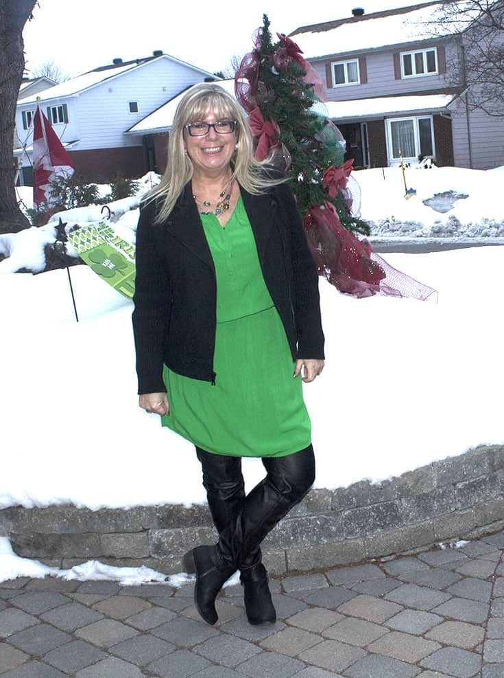 Celebrating my Irish in an Old Navy Kelly Green Dress with leather leggings and a wool moto jacket from Banana Republic