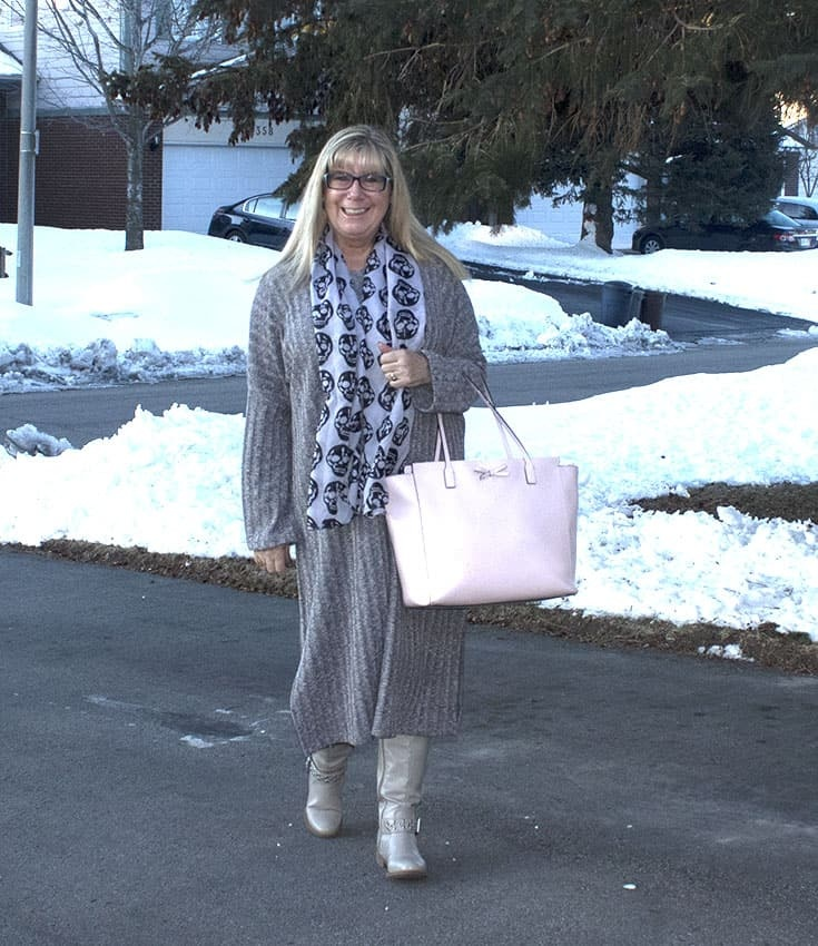 Eva Trends Grey Slit knitted dress with shoe dazzle boots amd a Kate Spade Tote