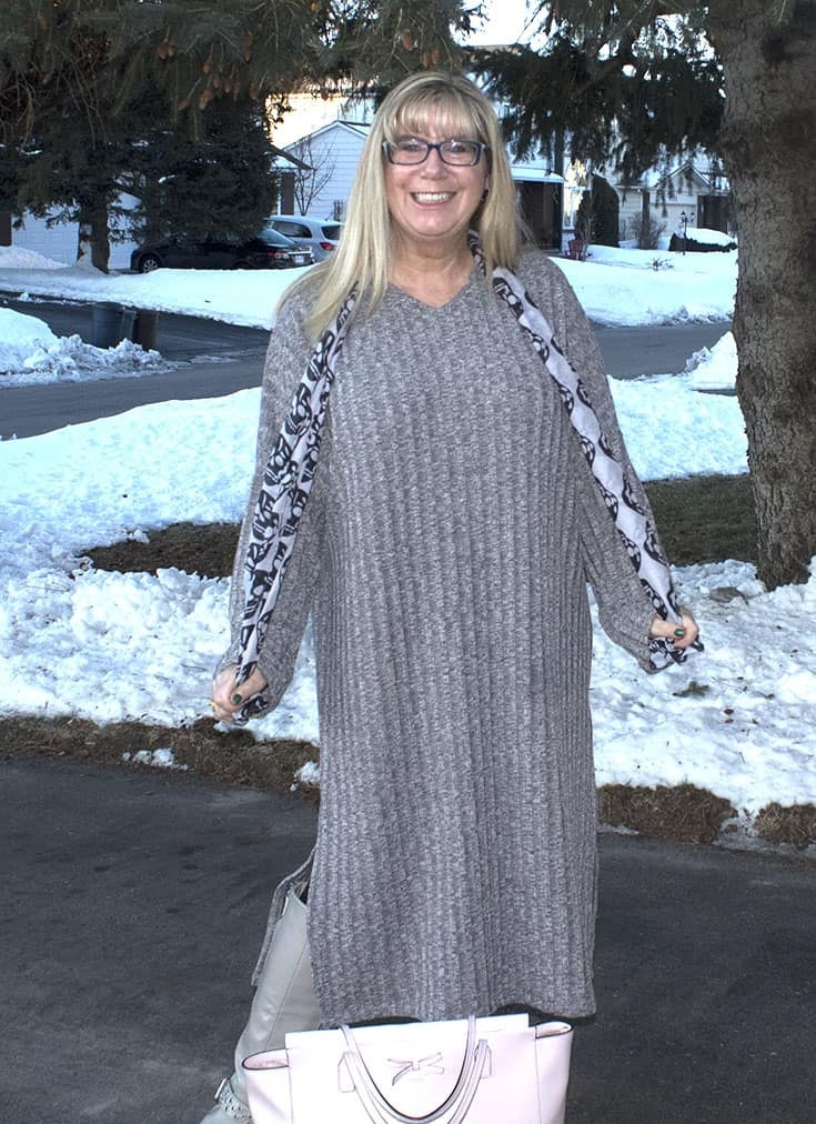 Eva Trends Grey Slit knitted dress with shoe dazzle boots amd a skull scarf