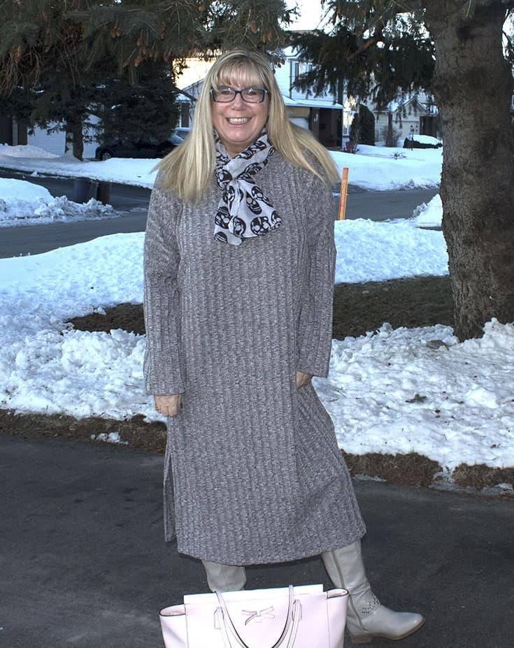 Eva Trends Grey Slit knitted dress and a Kate Spade Tote