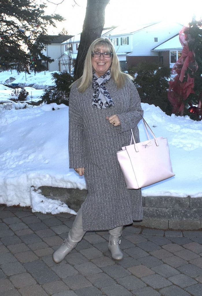 Grey Slit knitted dress with shoe dazzle boots and a Kate Spade Tote