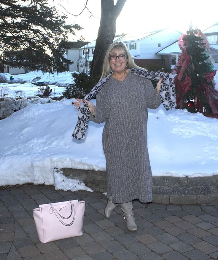 Eva Trends Grey Slit knitted dress