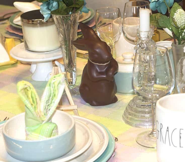 chcoclate easter bunny table decor
