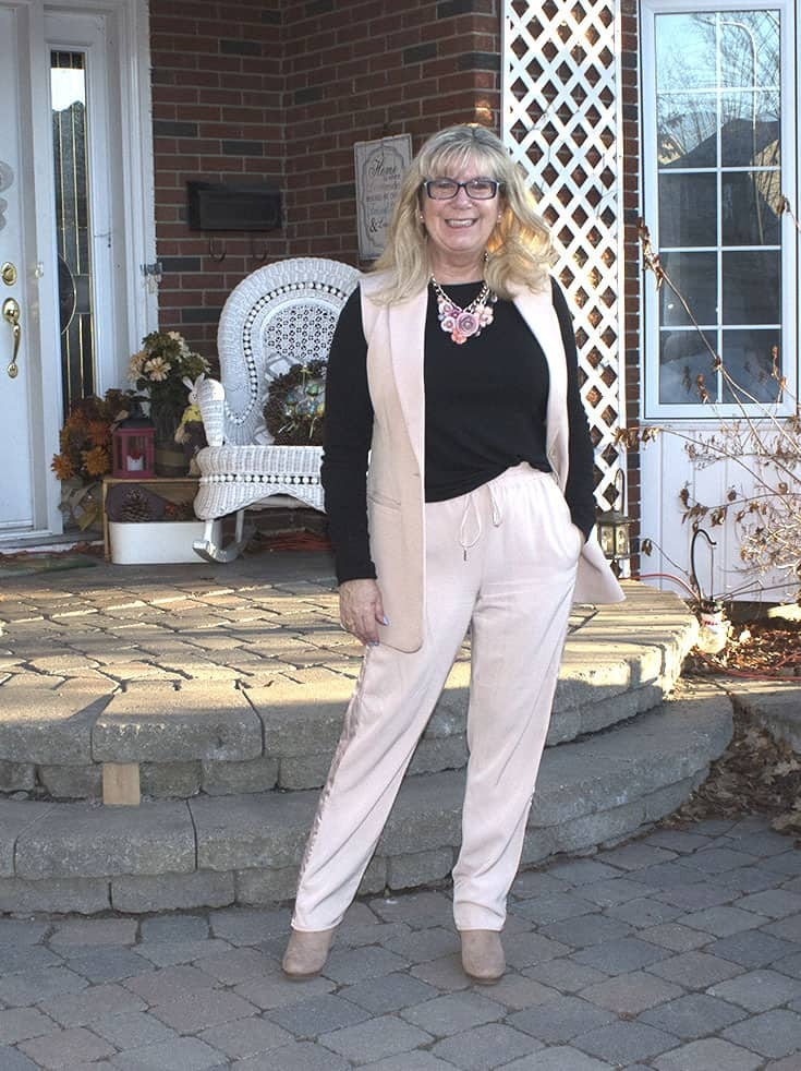 Blush Vest from F21 and fun draw string blush pants from H&M, paired with fun wedges from Shoe Dazzle