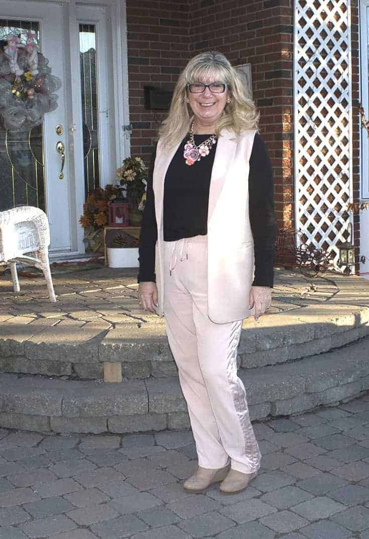 Blush Pant suit and fun wedges