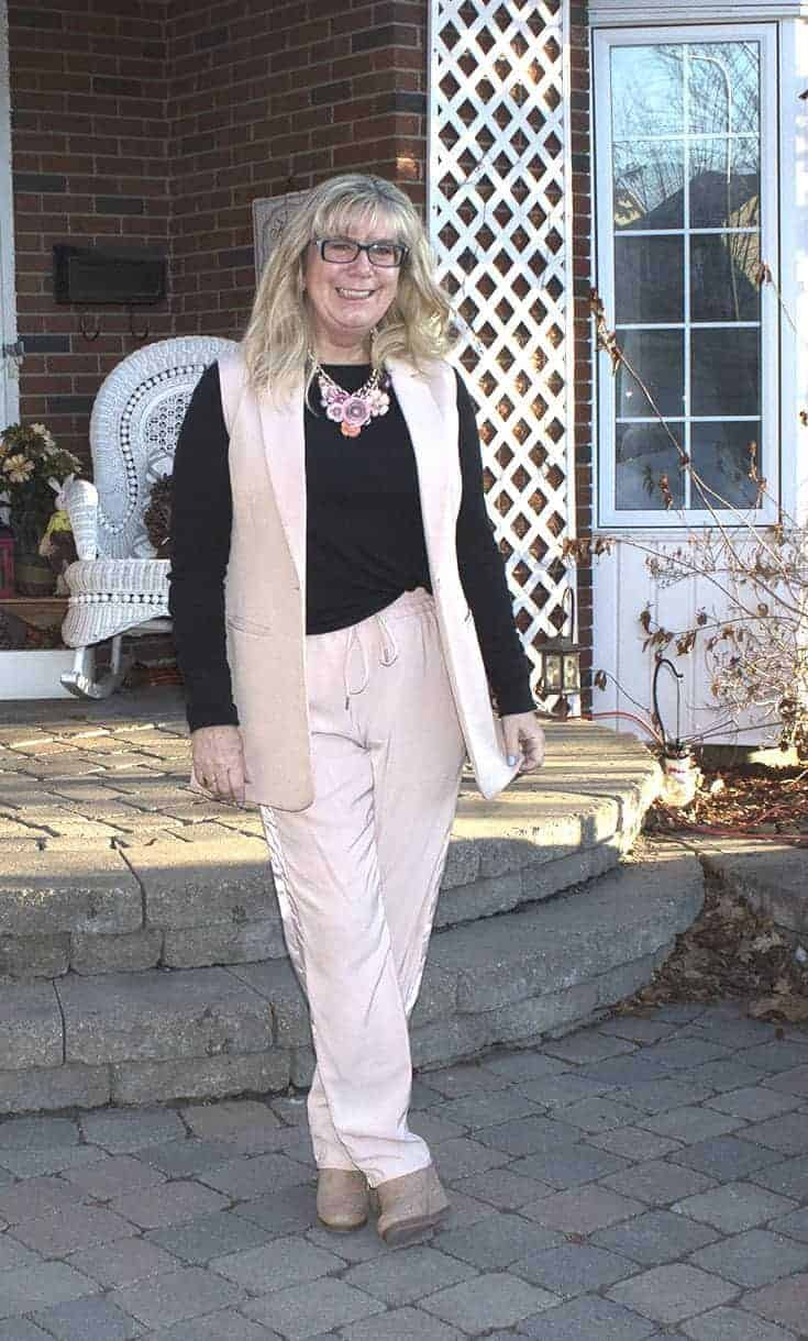 Blush vest and pants with shoe dazzle wedges