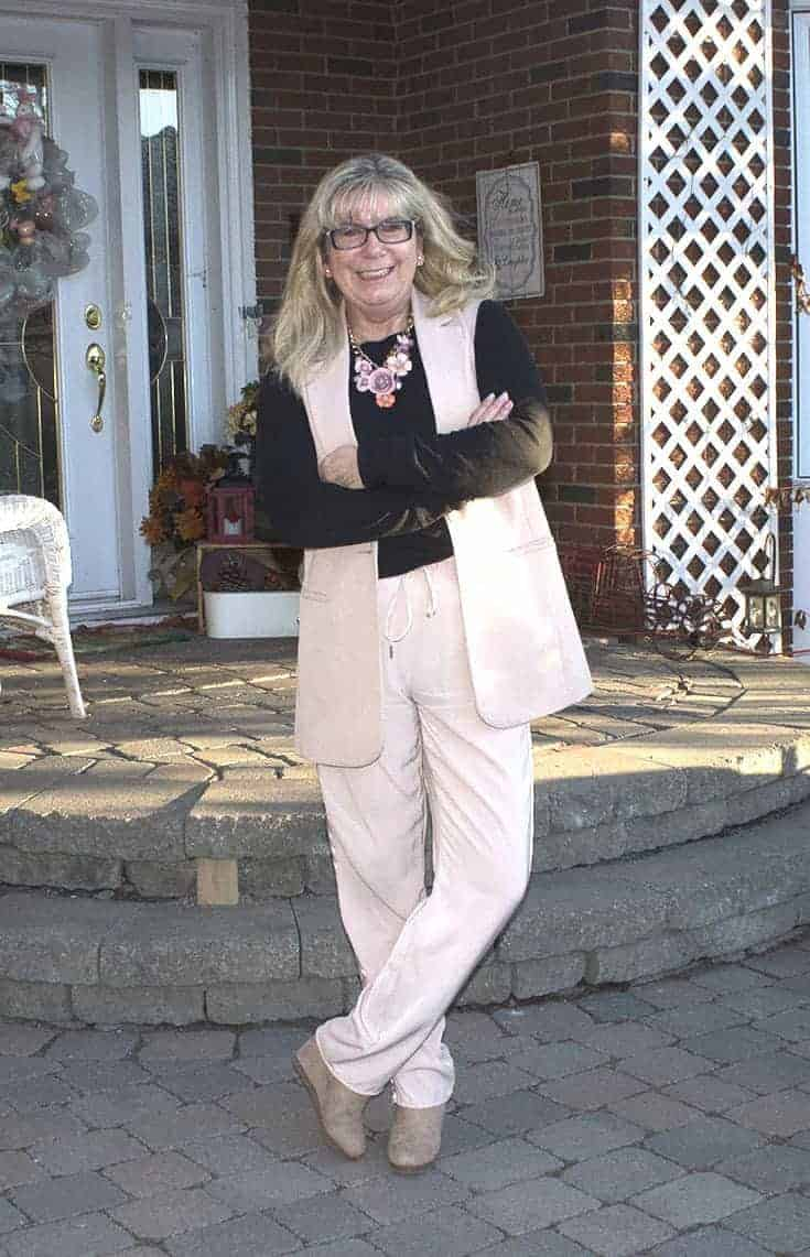 Spring ready in a blush pant suit and yosa necklace