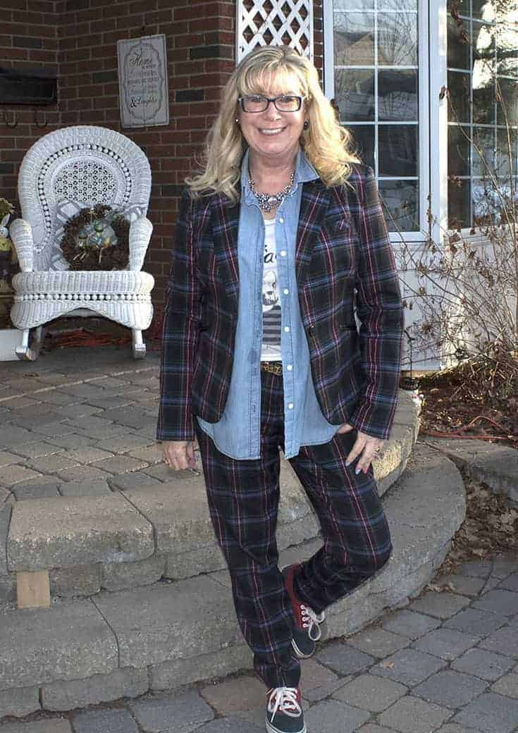 Blue Plaid suit with a chambray shirt and Van's