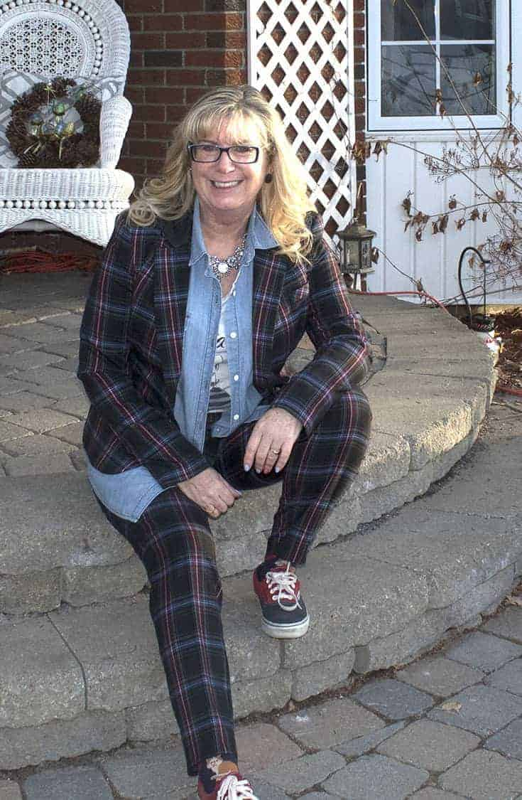 Target Plaid suit with a chambray shirt and Van's