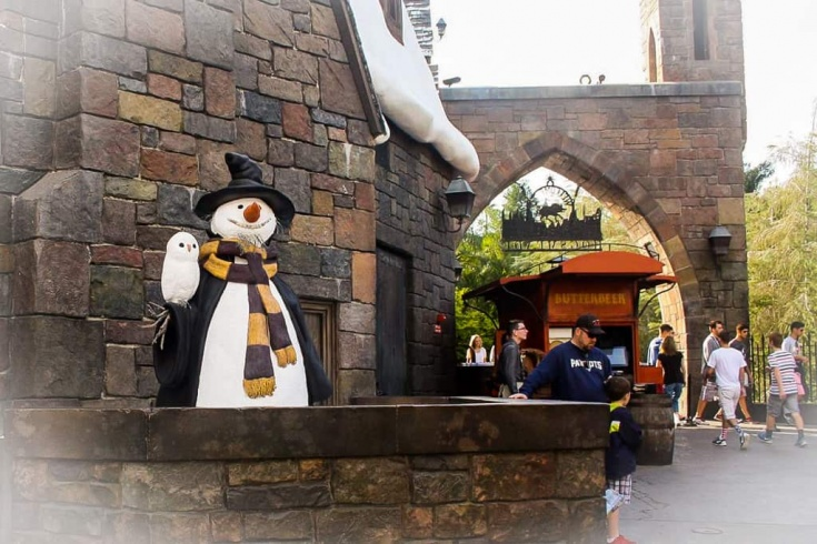 walking the streets in Hogsmeade