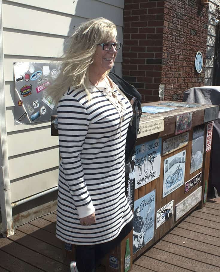 Old Navy strip dress with a denim jacket and jeggings