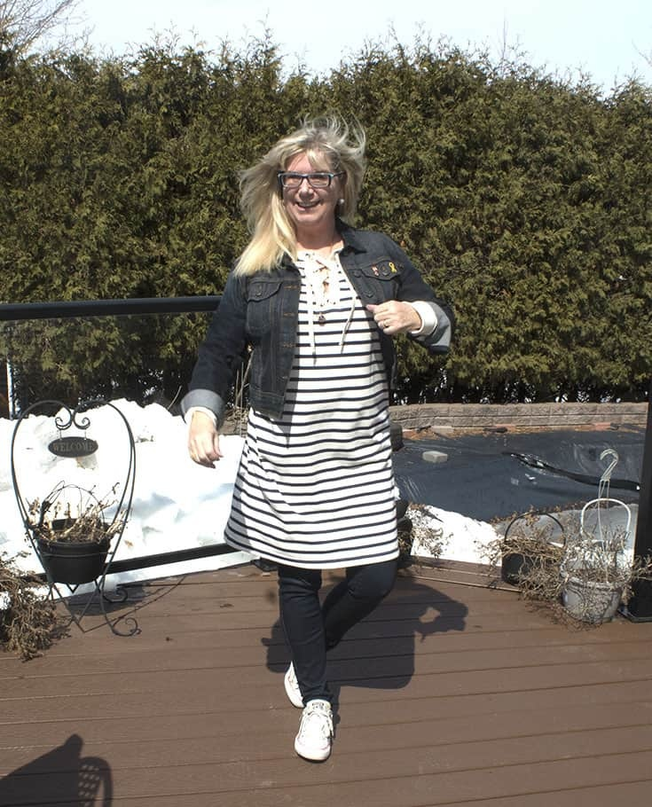 Old Navy strip dress with a denim jacket and dark wash jeggings