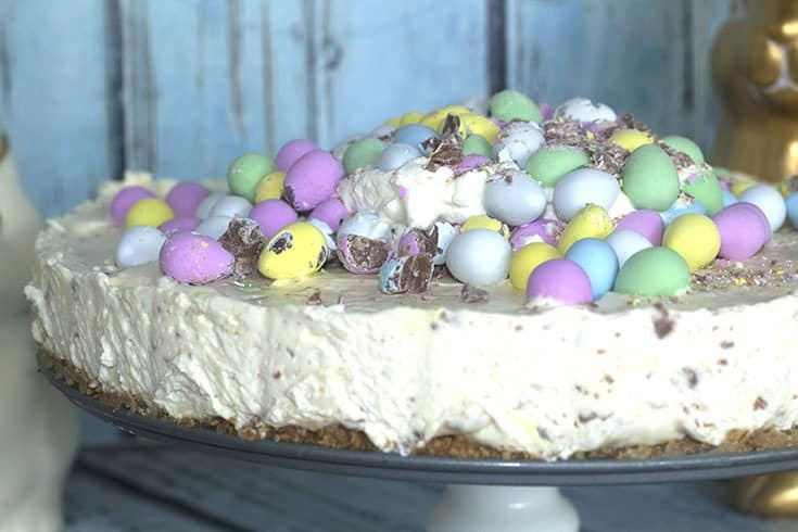 eggies covering an amazing cheesecake for easter