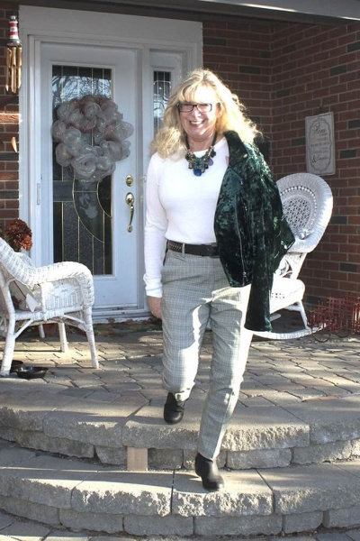 Wearing Green in memory and a Crushed Velvet Moto
