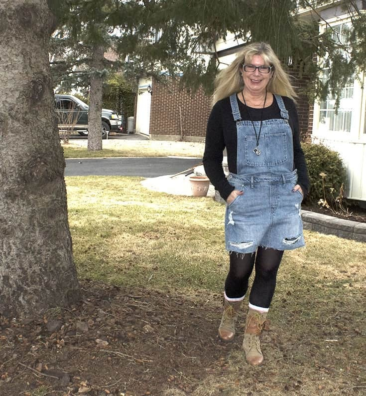 Denim Dungaree dress with fun boots