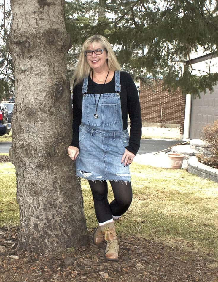 Camera ready in an dungaree dress and fun boots from Giant Tiger