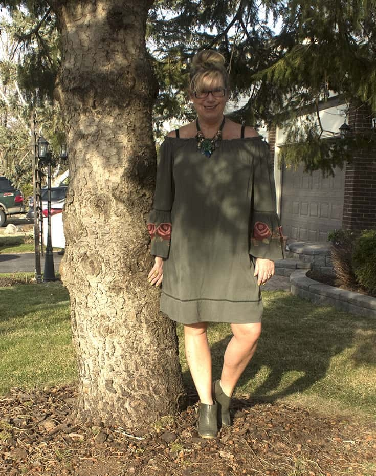 Sage green off the shoulder dress from Target with rose coloured embroidered sleeves and Nine West boots