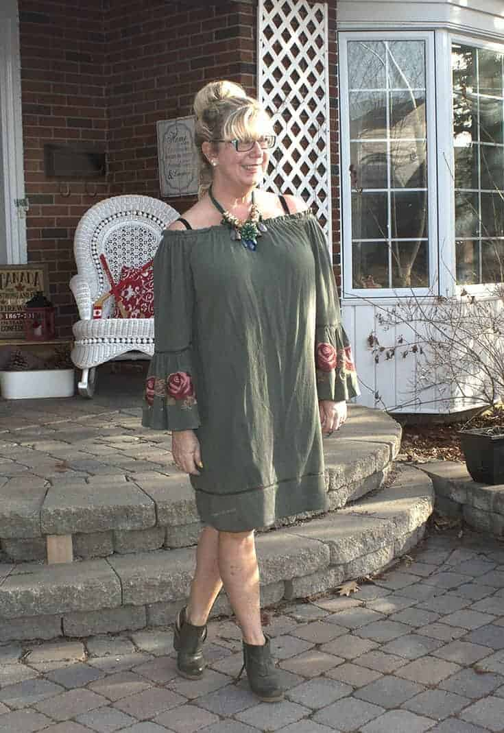 Sage green off the shoulder dress from Target with embroidered sleeves