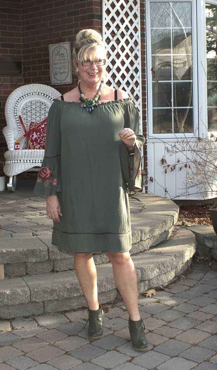 off the shoulder dress from Target with embroidered sleeves and Nine West boots