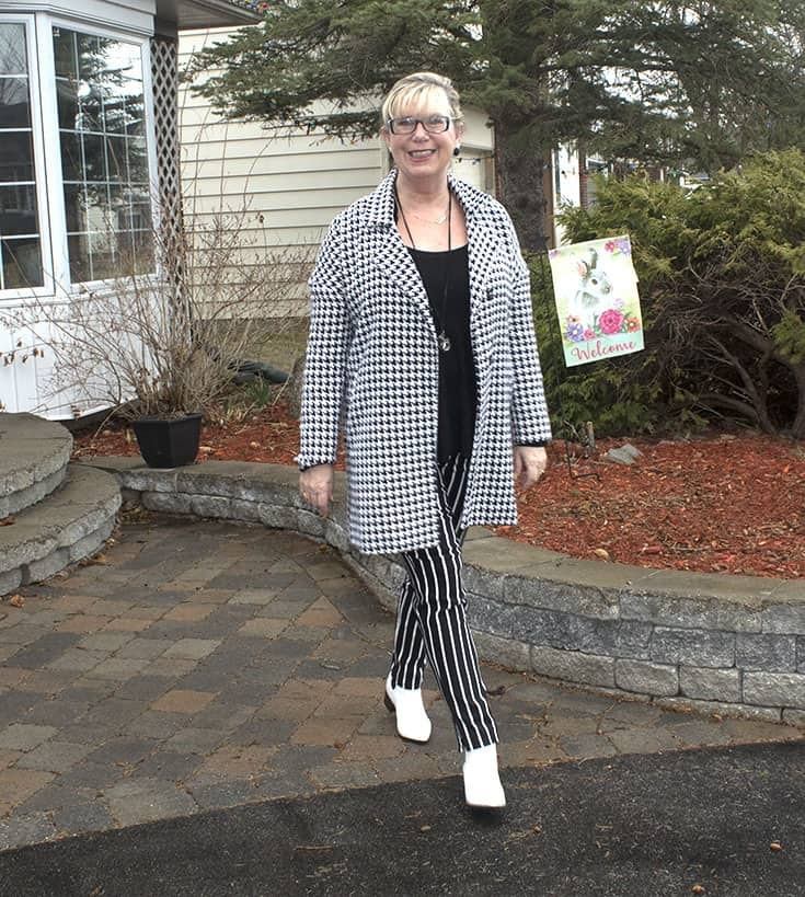 forever 21 stripe pants, Shein Houndstooth coat and fun white boots 5