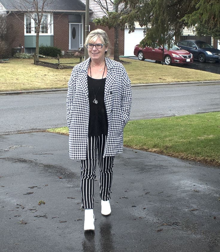 forever 21 stripe pants, Shein Houndstooth coat and fun white boots