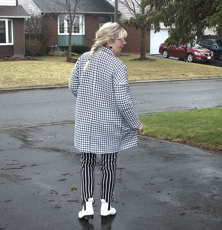 forever 21 stripe pants, Shein Houndstooth coat and fun white boots 2