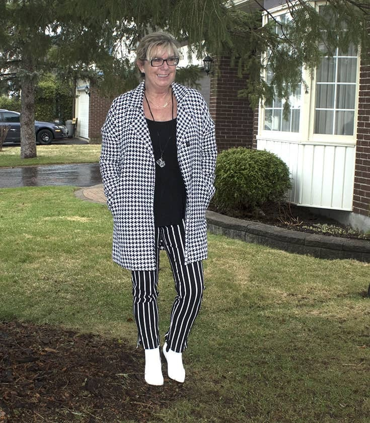 Stripe pants and Houndstooth with white boots