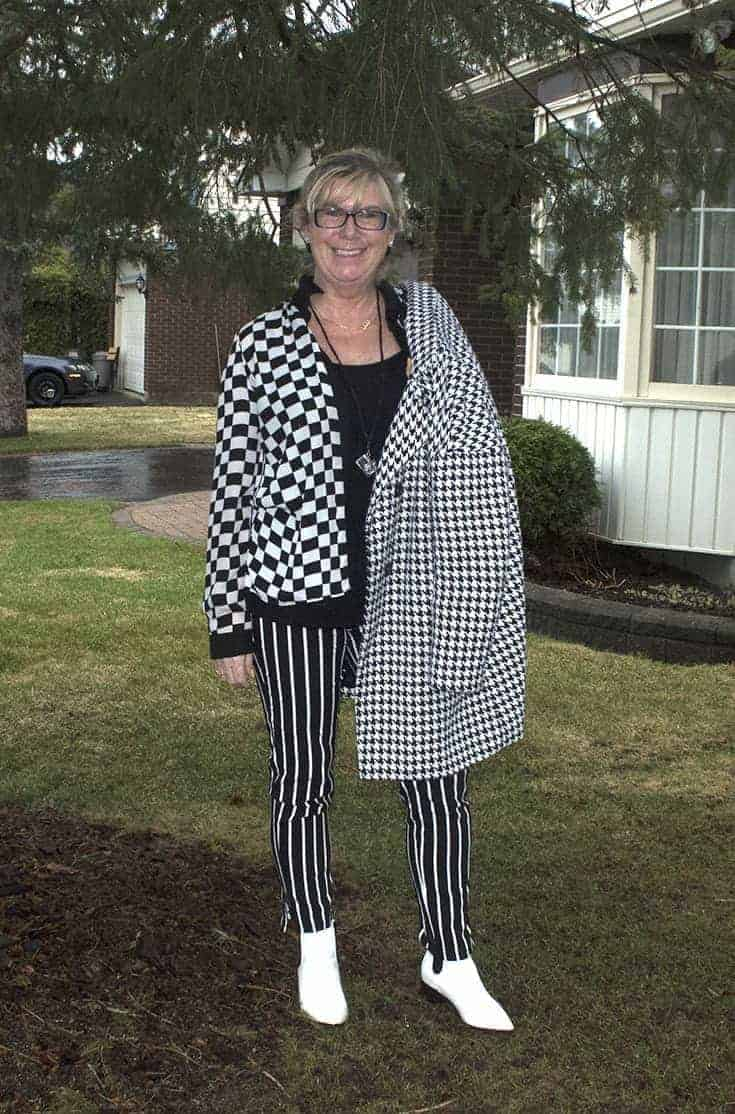 forever 21 stripe pants, Shein Houndstooth coat and fun white boots 4