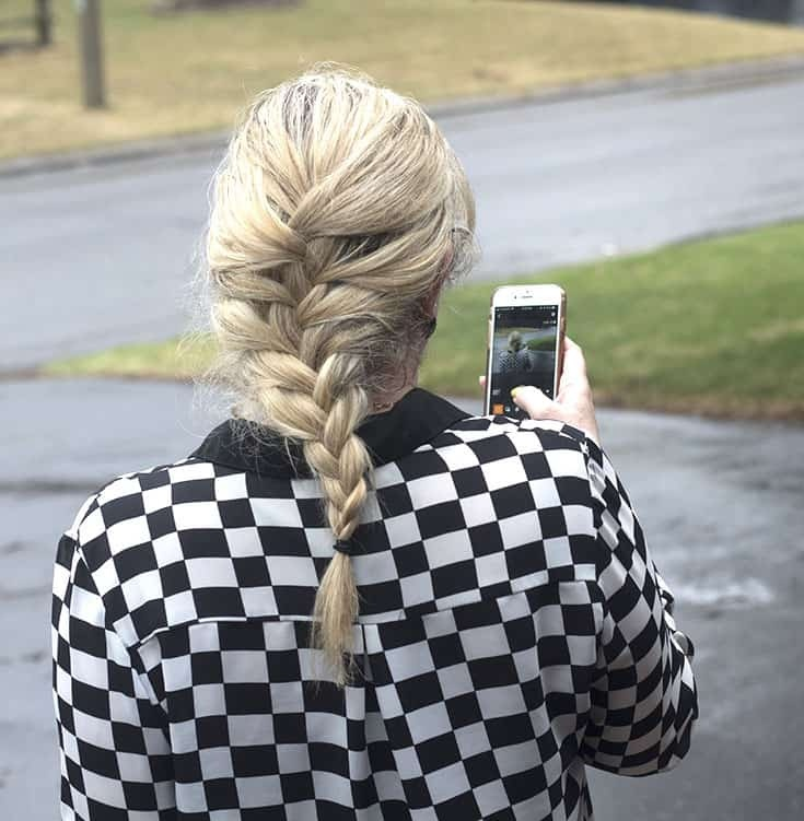 french braid and a checked shirt