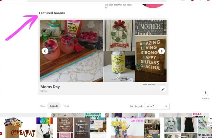 changing your featured boards on Pinterest