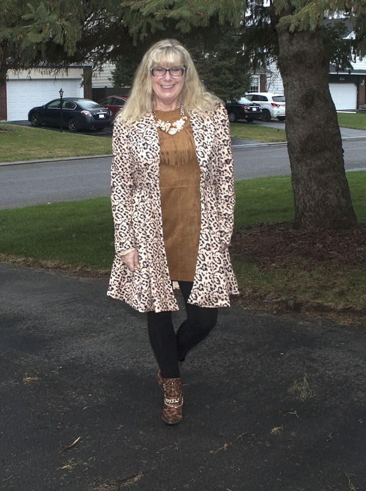 Gamiss Leopard Coat Fringe tunic from Forever 21, bamboo leggings and Shoe Dazzle leopard boots