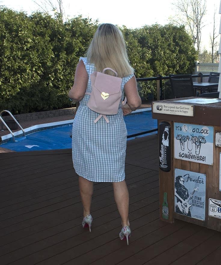 Drew pink suede bag