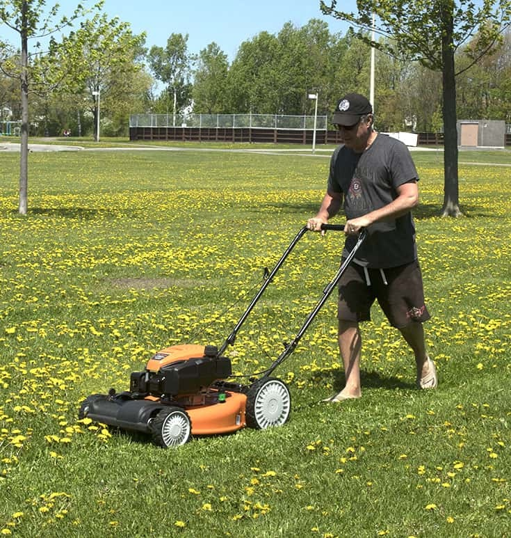 using the Columbia mower to create the bocce court 2