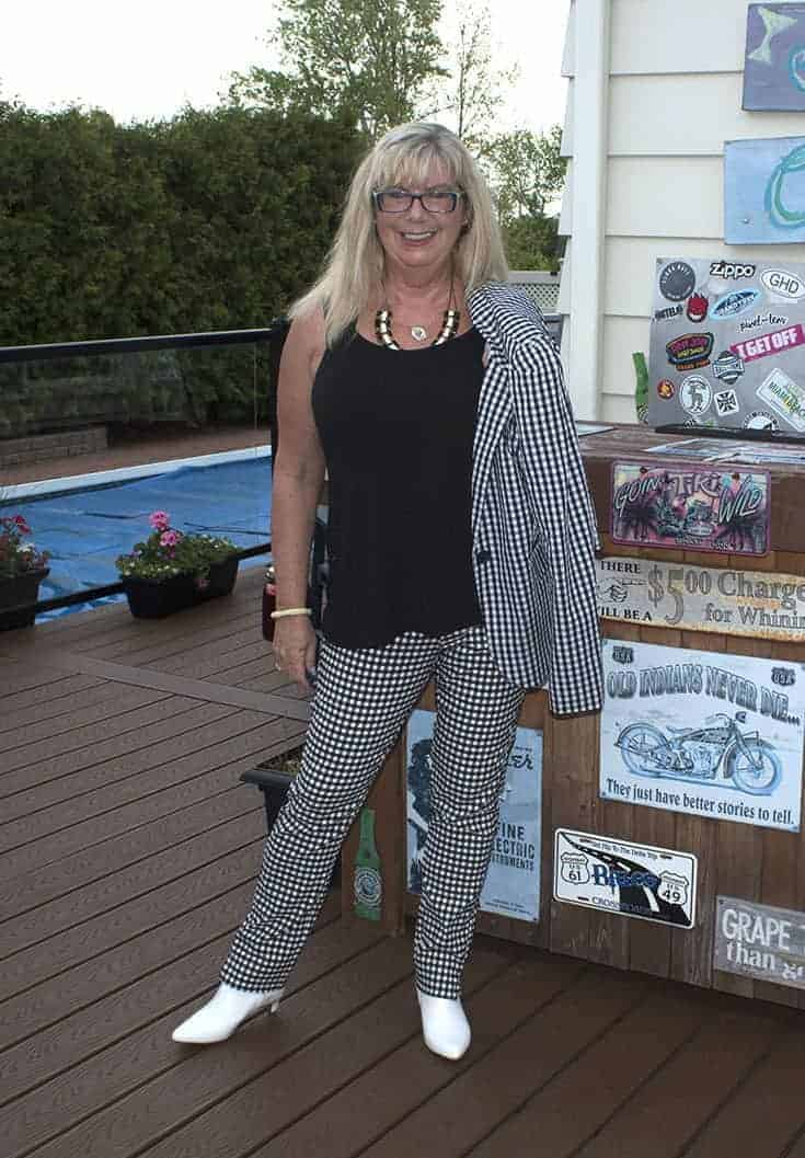 Target Black and white gingham suit and white boots 2