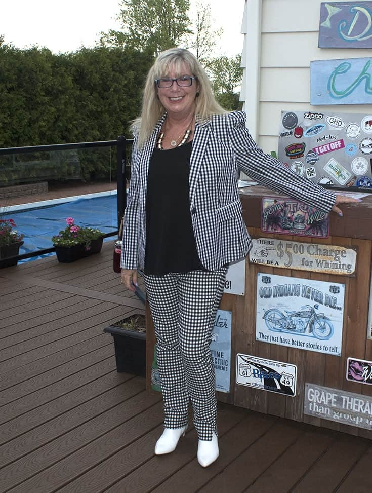 Target Black and white gingham suit and white boots 3