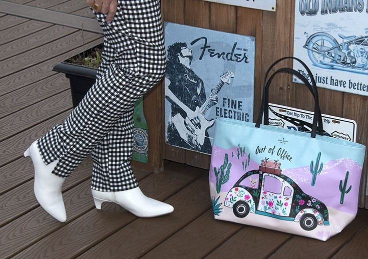 white boots and kate spade tote