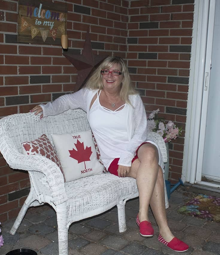 Canada Day ready giant tiger red skort and white linen cardigan
