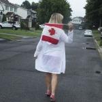Canada flad and a linen cardigan