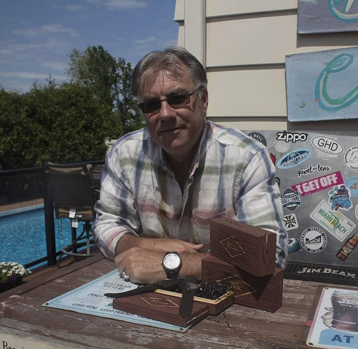 Kent with his wood watch engraved with I've Got You