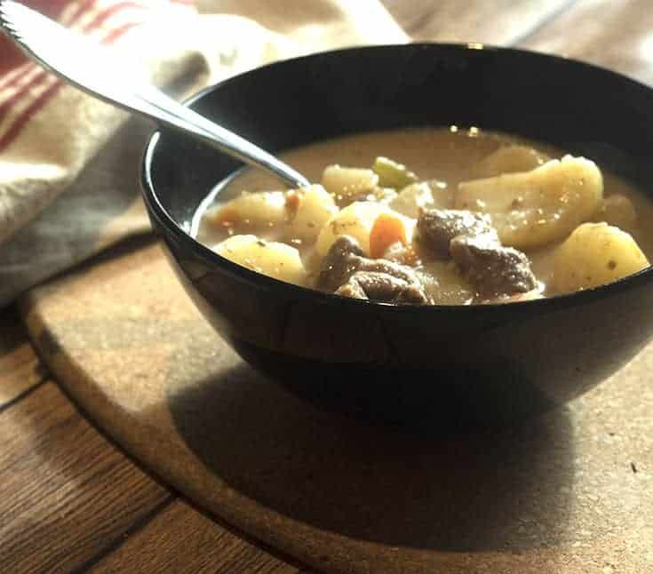 steaming bowl of homemade beef stew